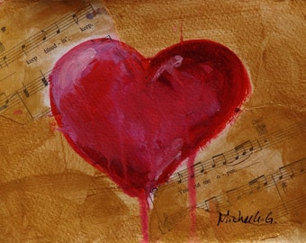 Original Painting, Gift for Her, Heart Art, Love Song, Music Sheet, Red Heart, Gold, Small Painting, Under 30, Best Friend Gift, Romantic