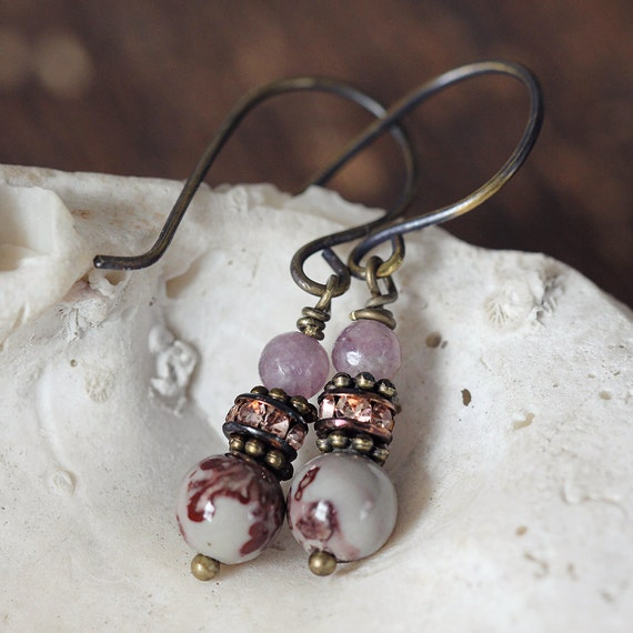 Jasper Earrings - Natural Earrings - Jasper Jewelry - Dainty Everyday Earrings - Jade Earrings - Earthy Earrings