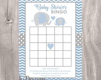 Blue elephant baby shower bingo, blue and gray printable baby shower bingo cards, Instant Download, printable elephants baby shower game