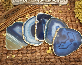 Gold Plated Agate Slice - Blue Agate Slice with 24k Gold Electroplated Edge - Home Decor (RK77B13)