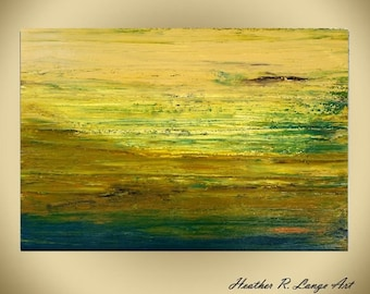 Modern Green Yellow Classic Canvas Textured Painting Original Abstract Made To Order