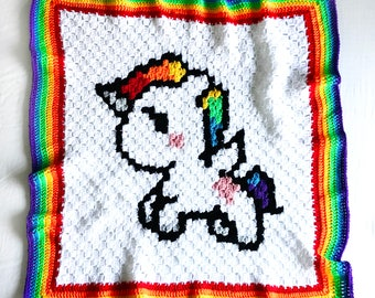 Crochet Rainbow Unicorn Baby Blanket