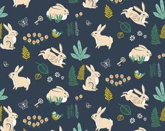 Organic fabric, Bunny fabric, Birch organic fabric, baby fabric, Bunny hop, boho baby fabric, boho girl fabric, Hidden Garden, organic baby