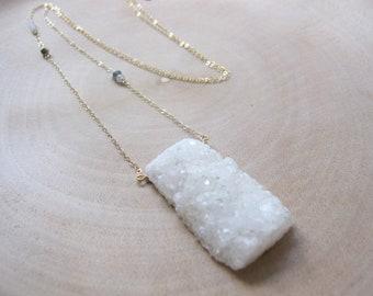 Spirit Quartz Necklace, White Spirit Quartz, Long Boho Necklace, Cactus Quartz, Raw Druzy Stone, White Druzy Pendant, Bohemian Jewelry