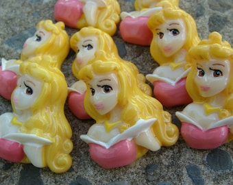 2 Sleeping Beauty Hair Bow Resins Princes Sleeping Beauty Resin