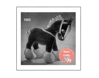 1950's Toy Horse Sewing Pattern  - PDF Toy Pattern - Instant Download - Doll Pattern