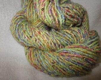 Handspun Alpaca Merino Silk and Sequins ART Yarn (Garden Tea Cups)  122 yards