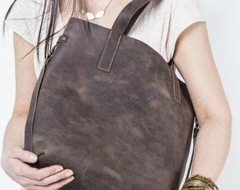 Leder Handtasche, Umhängetasche, Schultertasche, VINTAGE LOOK, Fettleder, Laptop Tasche, Einkaufstasche, Reisetasche, wasserabweisend, braun