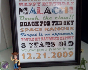 Toy Story Birthday Subway Art - Personalized Printable