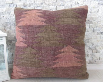 very rare old kilim pillow 18x18 Kilim Chair Pillow Bohemian Pillow Ottoman Pillow cushion kilim lumbar Decorative Pillow Medium Size