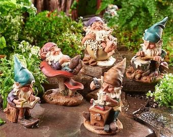 Miniature Garden - Woodland Gnomes - Set of 5 - Miniature Fairy Garden Supplies