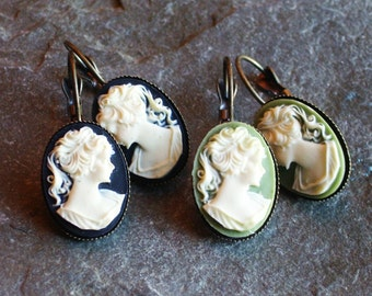 Cameo earrings, black cameo earrings, green cameo earrings, Irish cameo earrings, leverback earrings, cameo jewelry, gift ideas for mom