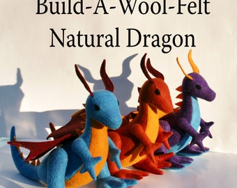 Build-A-Wool-Felt Natural Dragon ~ Personalized Fantasy Handmade-to-Order Eco Friendly Stuffed Dragon, Custom Dragon Plushies, Stuffies
