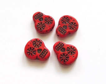 Bright Red Czech Glass Sugar Skulls with Black Inlay, 20mm - 4 pieces