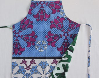 Reversible Child Apron, Kanga - Blue Purple Flowers and Green White Sun, Small Kids