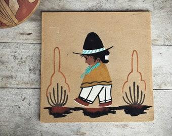 Navajo Sand Painting Little Child Walking, Southwestern Wall Decor, Native Americans Art