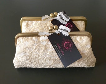 SALE - Gold and Ivory Lace Clutch
