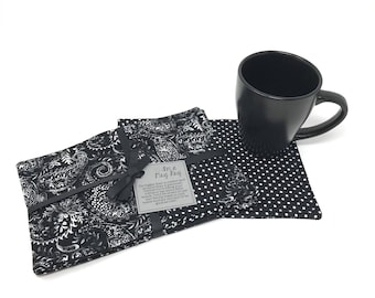 Black Mug Rug Gift Set of 4 | Coffee Mug Rugs | Reversible Coasters | Tea Coasters | Mug Rug | Coasters | White |Placemats