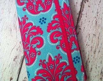 Hot pink and blue damask print iPhone wallet case with removable gel case