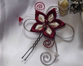 Burgundy and ivory for bridal hair stick