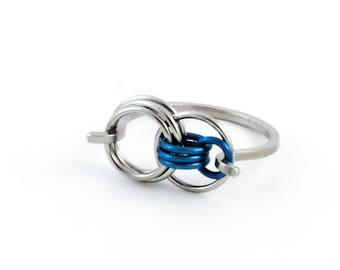 Simple Links Stainless Steel and Titanium Ring