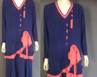 1920s dress/ blue Art Deco dress