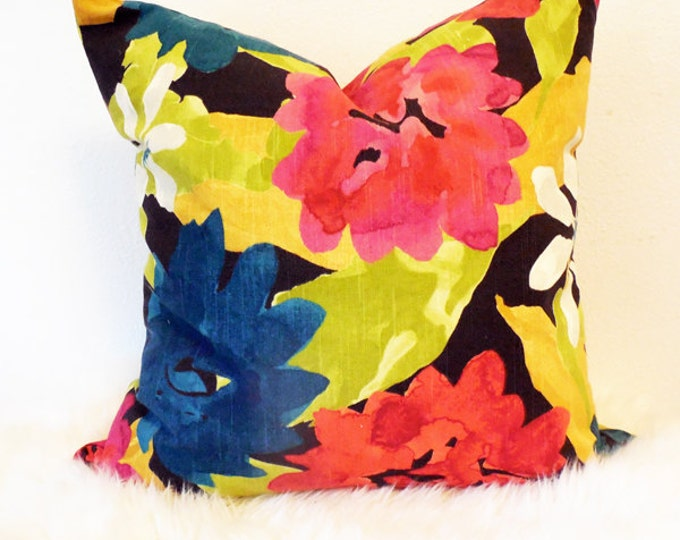 modern, colorful floral print pillow cover