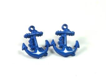Anchor earrings, Red, blue, white earrings, Fishing earrings, Gift for her