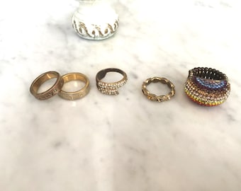 Set of 5 Tarnished Costume Jewelry Rings