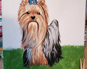 "OOAK Original Acrylic on 11""x14"" Canvas Yorkie Yorkshire Terrier"