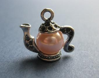 4 Pearl Teapot Charms - Pearl Teapot Pendant - Teapot Charm - 3D - 20mm x 18mm  --(M2-10799)