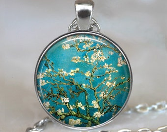 Van Gogh Almond Branch in Bloom necklace, Van Gogh art pendant necklace gift for art student or artist, keychain key chain key ring key fob