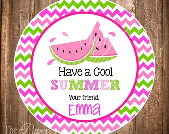 Have a Cool Summer Tag, End of School Year Tag, Summer Tags or Stickers, Printable Summer Labels, Watermelon Stickers,Digital Watermelon Tag