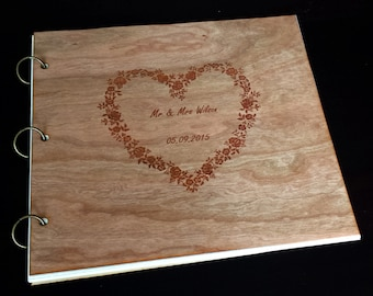 Wedding Guest Book Wood /Custom Photo Album Wood Engraved /Wood Cover Guest Book /Flower Heart Design Photo Album /Wood Wedding Gift Album