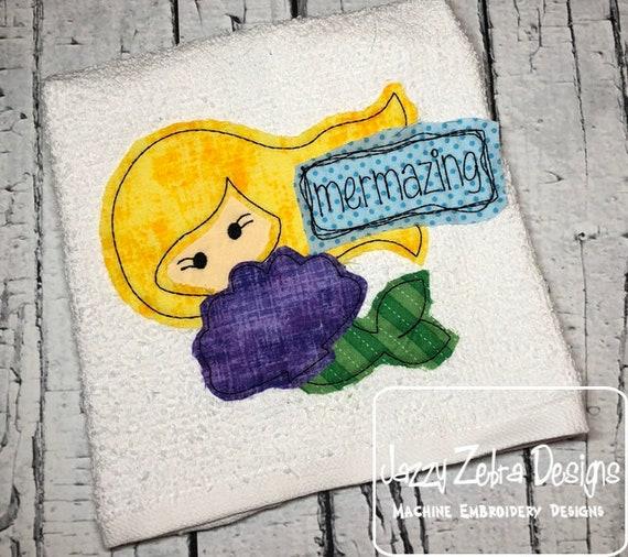 Mermazing Mermaid shabby chic appliqué embroidery design - mermaid appliqué design - beach appliqué design - shabby chic appliqué design
