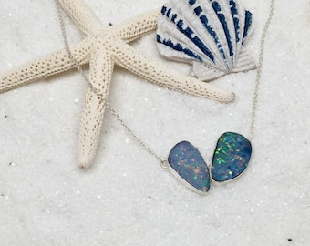 Australian opal Necklace , Blue and Green Opal Doublet with Sterling Silver Necklace