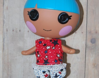 "Lalaloopsy Littles 7"" doll clothes -Red White Blue Star Top and Pants - tkct023"