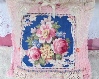 Glorious Pink ROSES & PEONY PILLOW Chenille 1940s Blue Floral Center, Wedding Laces Sequins Ribbon Buttons Tablecloth Forget Me Not Keepsake