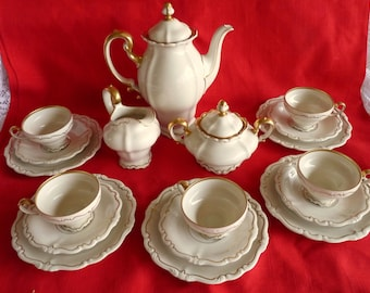 Rosenthal Selb GERMANY Gorgeous 1930's - Pompadour Coffee Service Set for Five in the BAROQUE Gold on Cream - Showcase Quality!!