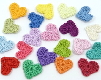 Handmade, Crochet applique, 20 small crochet hearts, cardmaking, scrapbooking, appliques, embellishments, sew on patches, sew on patches