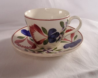 T G GREEN pottery. Vintage. Coffee cup and Saucer. T G Green & Co Ltd. OAKVILLE pattern. Church Gresley. Made in England.