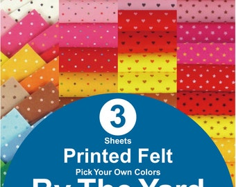 3 YARDS Printed Felt Fabric - pick your own colors (PR1y)