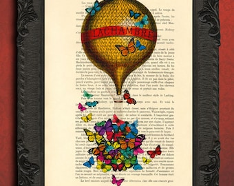 hot air balloon with butterfly basket print rainbow butterflies print yellow balloons print