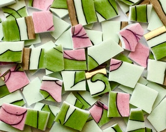 100 Green and Pink Hand Cut Vintage China Tiles//Antique Broken Dish//Mosaic Supplies//Mosaic Pieces//Craft Jewelry/Mosaic Tiles