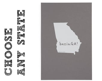 """State Screenprint - 12 1/2""""W x 19""""H - All 50 states available - FREE SHIPPING"""