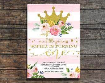 Princess Birthday Invitation Gold crown birthday invitation girl Floral first birthday invite watercolor gold Princess invitation printable