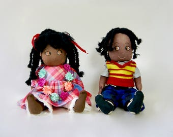 Pair of Vintage 1950s African American Afro Boy And Girl Dreadlocks Rag Dolls