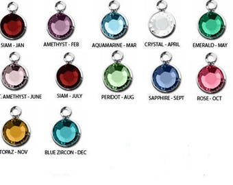 Add a Birthstone Charm, Channel, Round faceted or Bicone