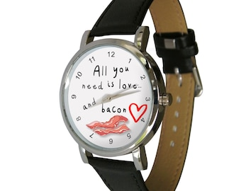 All you need is love & Bacon design watch - mens watch - womans watch
