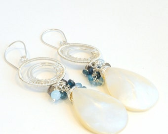 Silver Wire wrapped earrings, Mother of pearls Earrings, Labradorite, Apatite, Amazonite, Blue Gemstone Earrings, Super Long earrings